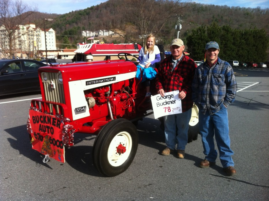 George Sr, George Jr, and Carlymae antique tractor